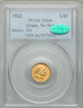 Commemorative Gold, 1922 G$1 Grant Gold Dollar, No Star, MS66 PCGS. CAC....