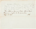 Autographs:U.S. Presidents, Abraham Lincoln Autograph Note Signed with Initials....