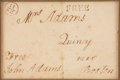 """Autographs:U.S. Presidents, John Adams Franking Signature on a Cover Addressed in his Hand to """"Mrs. Adams"""". ..."""