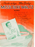 "Autographs:U.S. Presidents, Harry S. Truman ""Missouri Waltz"" Sheet Music Signed and Inscribed...."