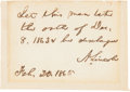 Autographs:U.S. Presidents, Abraham Lincoln Autograph Note Signed ... (Total: 2 Items)