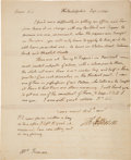 Autographs:U.S. Presidents, Thomas Jefferson Autograph Letter Signed as Secretary of State....