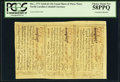 Colonial Notes:North Carolina, North Carolina December, 1771 2s6d-£1-10s Uncut Sheet of Three Notes PCGS Choice About New 58PPQ.. ...