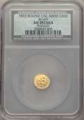 California Fractional Gold , 1853 50C Arms of California 50 Cents, BG-435, Low R.5 -- Plugged -- NCS. AU Details....