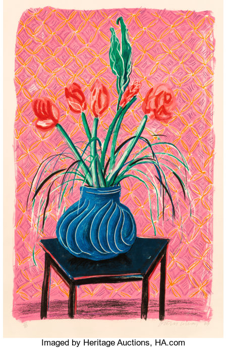 David Hockney (b. 1937)Amaryllis in Vase, from Moving Focus, 1984Lithograph in colors on TGL handmade paper, wit...