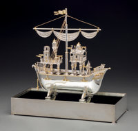 A Yossi Swed Partial Gilt Silver Galleon-Form Seder Set and Display Case, 20th century Marks: (S over D monogram)