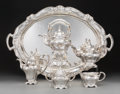 Silver Holloware, American:Tea Sets, A Six-Piece Gorham Martelé Silver Tea and Coffee Service,Providence, Rhode Island, circa 1917. Marks: Martelé,(eagle) ... (Total: 7 Items)