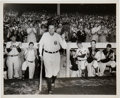 Baseball Collectibles:Photos, 1948 Babe Ruth's Final Yankee Stadium Appearance Original NewsPhotograph, PSA/DNA Type 1.. ...