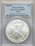 Modern Bullion Coins, 2008-W $1 Silver Eagle, Reverse of 2007, Burnished, MS69 PCGS. PCGS Population: (2576/489). NGC Census: (5171/4611). CDN: $...