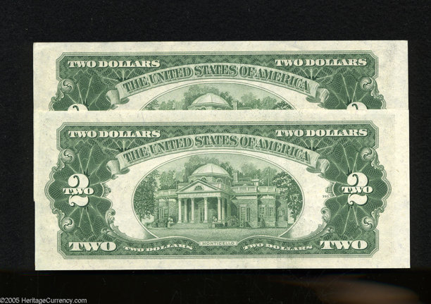 Fr  1510 $2 1953A Legal Tender Notes  Two Examples  Choice Crisp