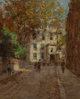Paul Cornoyer (American, 1864-1923) The Village, New York City, circa 1895 Oil on board 10 x 8 inches (25.4 x 20.3 cm