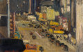 Fine Art - Painting, American, Hayley R. Lever (American, 1876-1958). 42nd Street Between 7thand 8th Avenue, New York City, 1920. Oil on canvas laid o...