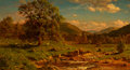 Paintings, John S. Jameson (American, 1842-1864). Grazing Sheep at Headwaters of a Stream, 1862. Oil on canvas. 18 x 33 inches (45....