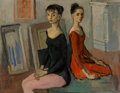Fine Art - Painting, American, Moses Soyer (American, 1899-1974). Two Dancers, Seated. Oilon canvas. 25 x 32 inches (63.5 x 81.3 cm). Signed lower rig...