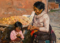 Paintings, Huihan Liu (American/Chinese, b. 1952). Grandmother's Lessons, 2007. Oil on canvas. 18 x 24 inches (45.7 x 61.0 cm). Sig...