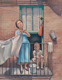 Daniel Ralph Celentano (American, 1902-1980) Hanging Out The Wash Oil on canvas 29-1/4 x 22 inche