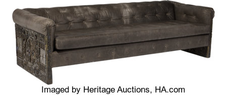 Adrian Pearsall (American, 1925-2011)Sofa, circa 1960, Craft AssociatesBronzed resin over steel and leather25-1/2 ...