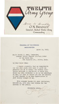 Autographs:Military Figures, General Omar Bradley Card Signed and John Pershing Typed Letter Signed. ...