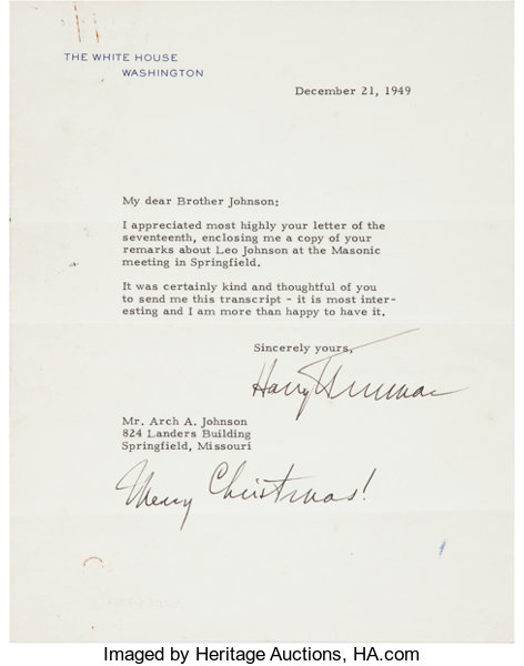 Harry s truman letter to a masonic brother signed adding lot autographsus presidents harry s truman letter to a masonic brother signed adding m4hsunfo