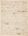 Autographs:Military Figures, Col. Taylor Manuscript Relating Revolutionary War Anecdote About Nathanael Greene....