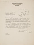 Autographs:U.S. Presidents, Herbert Hoover Typed Letter Signed. ...