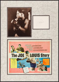 "Movie Posters:Sports, Joe Louis Lot (c. 1950s). Matted Display (18.25"" X 25.5"") with Autographed Card (4.25"" X 5.5""), Title Lobby Card (11"" X 14"")..."