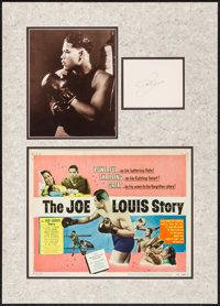 """Joe Louis Lot (c. 1950s). Matted Display (18.25"""" X 25.5"""") with Autographed Card (4.25"""" X 5.5""""), Titl..."""