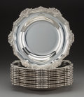 Twelve Paul Storr George III Silver Soup Plates, London, England, 1805 Marks: (lion passant), (leopard), (duty mar