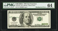 Error Notes:Shifted Third Printing, Fr. 2179-L $100 2003A Federal Reserve Note. PMG Choice Uncirculated 64.. ...