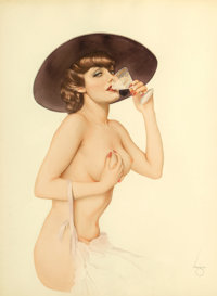 Alberto Vargas (American, 1896-1982) Martini Time, 1935 Watercolor and pencil on paper 27 x 20 in