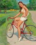 Paintings, Gil Elvgren (American, 1914-1980). Girl on Bicycle, NAPA Auto Parts advertisement, circa 1975. Oil on canvas. 30 x 23.5 ...