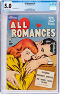 Golden Age (1938-1955):Romance, All Romances #3 (Ace, 1949) CGC VG/FN 5.0 Off-white pages....