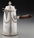 Silver & Vertu:Hollowware, An Alfred Hector Silver Chocolate Pot with Wooden Muddler, Paris, France, circa 1881-1913. Marks: LAIGNIEZ, (A-star-H). ...