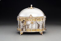 A Yossi Swed Partial Gilt Silver Etrog Box on Stand, 20th century Marks: (S over D monogram), (D butterfly S)