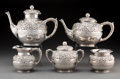 Silver Holloware, American:Tea Sets, A Five-Piece Wood & Hughes Silver Floral Repoussé Tea andCoffee Set, New York, New York, circa 1880. Marks: STERLING,W&H... (Total: 5 Items)