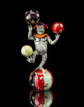 Silver & Vertu:Smalls & Jewelry, A Tiffany & Co. Silver and Enamel Juggling Circus Monkey on Ball, designed by Gene Moore, New York, New York, circa 1990. Ma...
