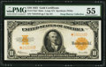 Large Size:Gold Certificates, Fr. 1173m* $10 1922 Mule Gold Certificate PMG About Uncirculated55.. ...