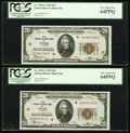 Small Size:Federal Reserve Bank Notes, Fr. 1870-G $20 1929 Federal Reserve Bank Notes. Two Consecutive Examples. PCGS Very Choice New 64PPQ.. ...