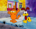 Animation Art:Production Cel, Garfield and Friends Garfield and Odie Production Cel SetupSigned by Jim Davis (Paws, Inc., c. 1990s). ... (Total: 2 Items)
