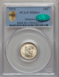 Barber Dimes, 1915 10C MS66+ PCGS Secure. CAC....