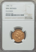 Three Dollar Gold Pieces, 1886 $3 -- Cleaned -- NGC Details. Unc. ...