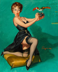 Gil Elvgren (American, 1914-1980) Ruffled Feathers, 1967 Oil on canvas 30 x 24 in. Signed lowe