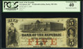 Obsoletes By State:Rhode Island, Providence, RI- Bank of the Republic $5 July 5, 1856. ...