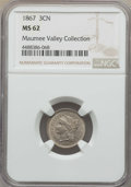 Three Cent Nickels, 1867 3CN MS62 NGC. EX: The Maumee Valley Collection. NGC Census: (95/347). PCGS Population: (80/483). MS62. Mintage 3,915,0...