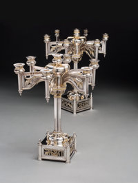 A Pair of Yossi Swed Six-Light Partial Gilt Silver-Plated Candelabra, 20th century Marks: (S over D monogram), (D-