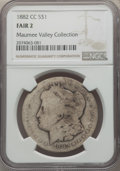 1882-CC $1 Fair 2 NGC. EX: The Maumee Valley Collection. NGC Census: (2/17494). PCGS Population: (22/33856). Mintage 1,1...