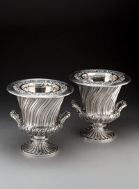 A Pair of Robert Hennell II Silver Wine Coolers, London, England, 1821 Marks: (lion passant), (crowned leopard), (