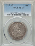 Seated Half Dollars, 1851-O 50C VF25 PCGS. PCGS Population: (3/101). NGC Census: (2/52). Mintage 402,000. . From the E.B. Strickland Collec...