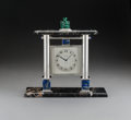 A Cartier Silver, Lapis Lazuli, Malachite, and Marble Pagoda-Form Table Clock, circa 1930 Marks to silver base: