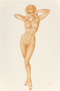 Alberto Vargas (American, 1896-1982) Nude with Phone (Jeanne Dean), 1946 Watercolor, pastel, and pen